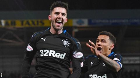 Sean Goss celebrates scoring for Rangers