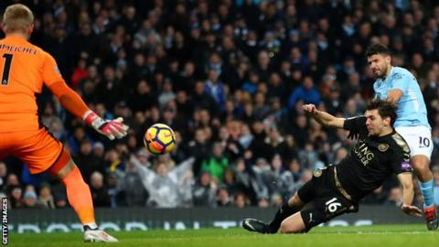 Aguero hits four as Man City put five past Leicester