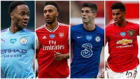 Raheem Sterling (Manchester City), Pierre-Emerick Aubameyang (Arsenal), Christian Pulisic (Chelsea) and Marcus Rashford (Manchester United)