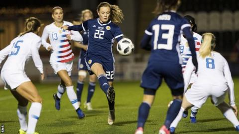 Erin Cuthbert playing for Scotland against United States