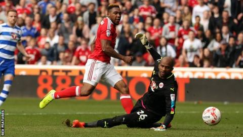 Britt Assombalonga scores his first goal against Reading