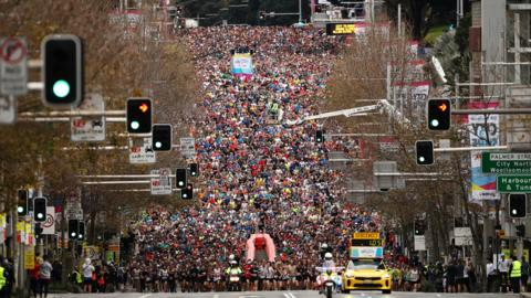 Sydney, Australia, 11 August: More than 80,000 people take to the streets of Sydney for the annual City2Surf 8.7-mile fun run. (Photo by Brendon Thorne/Getty Images)