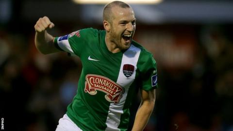 Karl Sheppard put Cork City in front against Derry at Brandywell