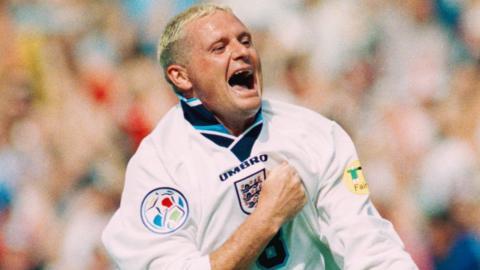 Paul Gascoigne celebrates his goal against Scotland at Euro 96