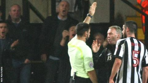 John Sheridan is sent off against Wycombe