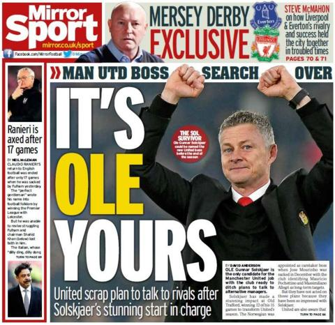 Mirror back page on Friday