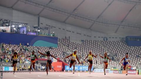 Women's 100m final in Doha