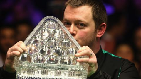 Mark Allen kisses Masters trophy