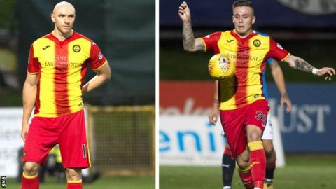 Partick Thistle's Conor Sammon and Miles Storey