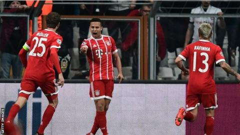 Thiago celebrates his opening goal