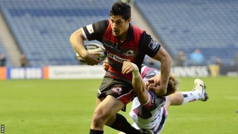 Phil Burleigh scores a try for Edinburgh against Ospreys