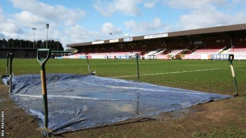 AFC Wimbledon's waterlogged pitch