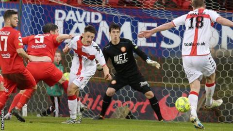 Crusaders striker Jordan Owens fires on the Portadown goal at Shamrock Park