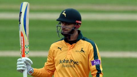 Alex Hales celebrates his half-century at Trent Bridge