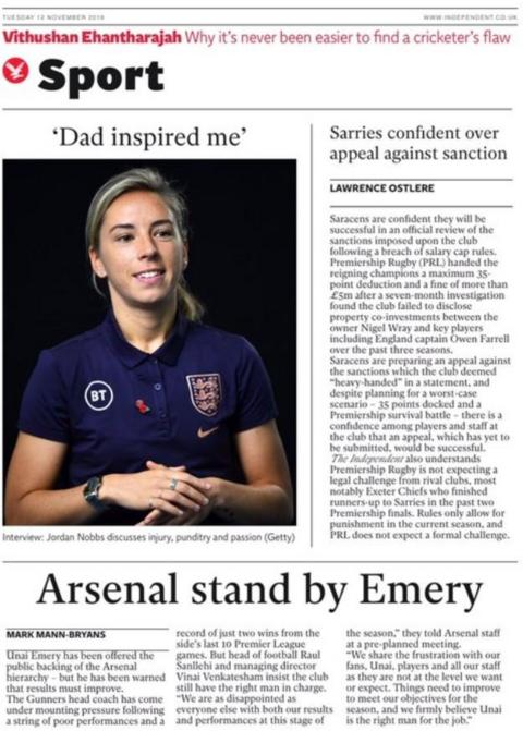 The back page of the Independent