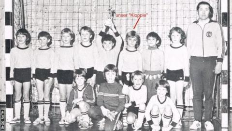 Klopp is pictured in a Glatten youth football team shot as a young boy