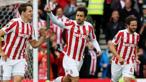 Bojan Krkic (centre) celebrates scoring against Manchester City