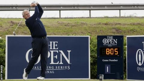 Colin Montgomerie tees off at Open qualifying