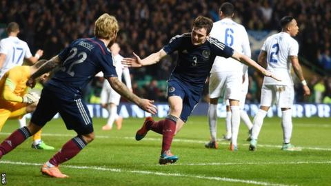 Andrew Robertson scored his first Scotland goal against England last year