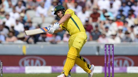 Aaron Finch plays a shot in a one-day international