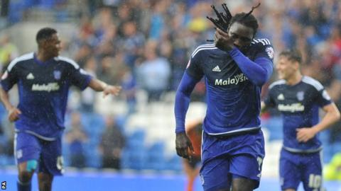 Kenwyne Jones celebrates scoring his first goal of the season against Wolves