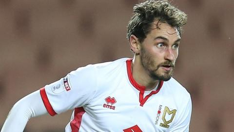 Ed Upson in action for MK Dons.