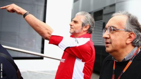 Ferrari bosses Maurizio Arrivabene and Sergio Marchionne