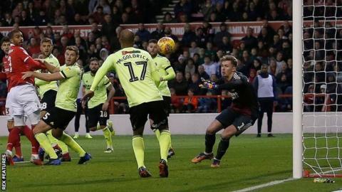 Lewis Grabban scores against Sheffield United