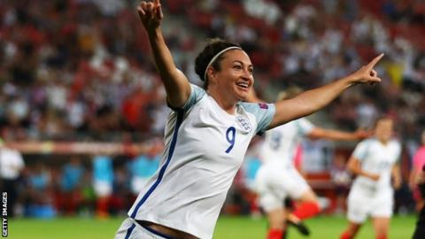 England striker Jodie Taylor scored a hat-trick when England beat Scotland 6-0 at Euro 2017