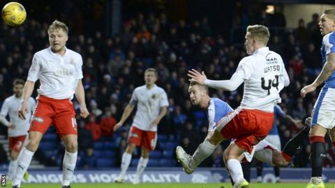 Billy King scores for Rangers against Falkirk