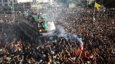 Algiers, Algeria, 20 July: Unbelievable scenes greeted the Algeria team as they returned to the country after winning the Africa Cup of Nations. (Photo by Billal Bensalem/NurPhoto via Getty Images)