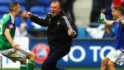 Michael O'Neill celebrates Northern Ireland's second goal in the 2-0 win over Ukraine at the Euro 2016 finals