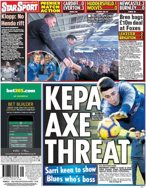 Star back page on Wednesday