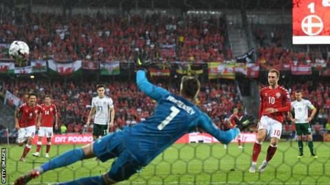 Christian Eriksen scores from the penalty spot against Wales