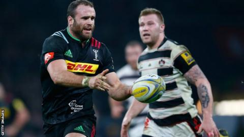 Jamie Roberts in action for Harlequins against Gloucester