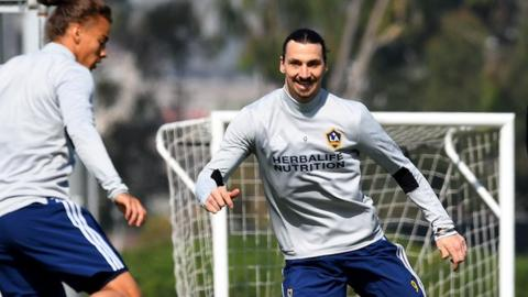Zlatan Ibrahimovic in training with LA Galaxy
