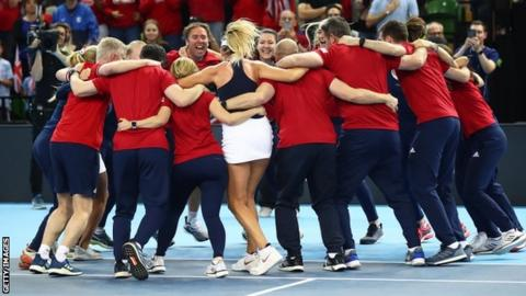 GB Fed Cup players embrace