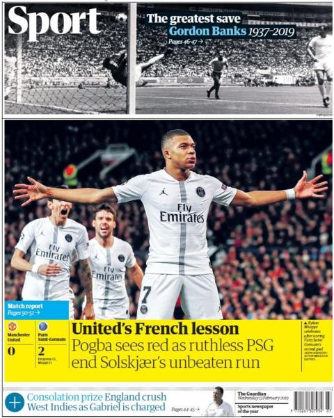 Guardian back page on Wednesday