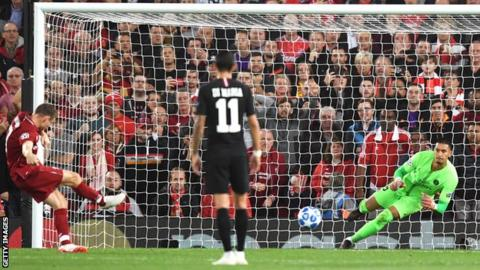 James Milner scores for Liverpool from the penalty spot gainst Paris St-Germain