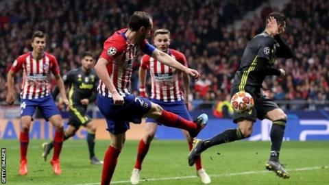 Atletico Madrid 2 0 Juventus Spanish Side Claim Dramatic Win Over