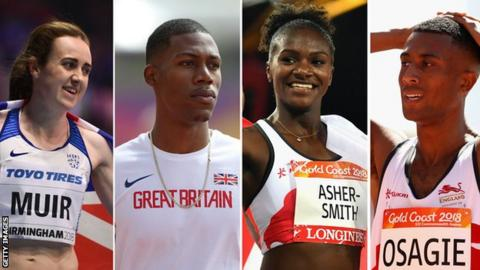 Laura Muir, Zharnel Hughes, Dina Asher-Smith and Andrew Osagie