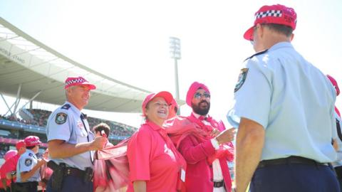 Everyone who attended the Test on Saturday wore a pink item of clothing - even the police