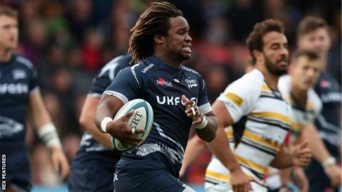Sale wing Marland Yarde carries the ball