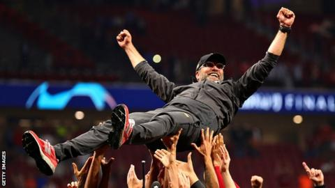 Jurgen Klopp celebrates winning the Champions League