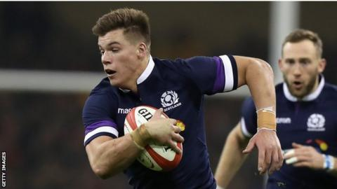 Scotland's Huw Jones takes on the Wales defence in Cardiff