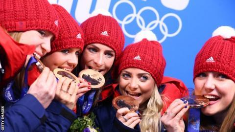 Team Muirhead celebrate Olympic bronze at Sochi