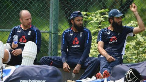 England spinners Jack Leach (left), Adil Rashid (centre) and Moeen Ali (right) look on during a break in training before the second Test against Sri Lanka