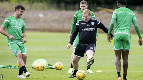 Neil Lennon in training with his players