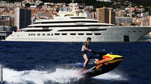 Max Verstappen rides his jet ski in Monaco