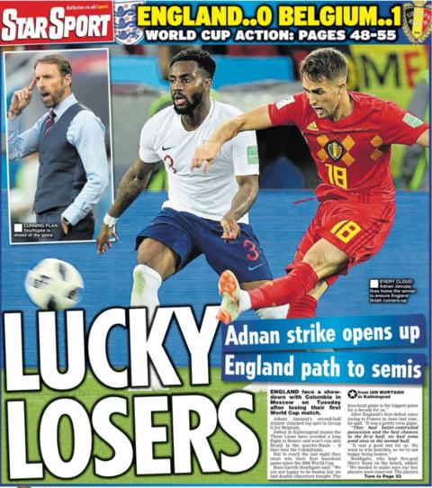 The Daily Star opts for the same headline following the 1-0 loss to Belgium